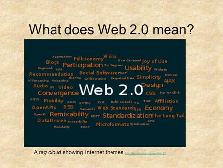 What does Web 2.0 mean? A tag cloud showing Internet themes