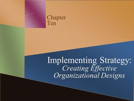 Chapter Ten Implementing Strategy: Creating Effective Organizational Designs.
