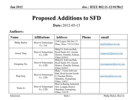 Doc.: IEEE 802.11-12/0158r2 Submission Jan 2012 Phillip Barber, HuaweiSlide 1 Proposed Additions to SFD Date: 2012-03-13 Authors: NameAffiliationsAddressPhoneemail.