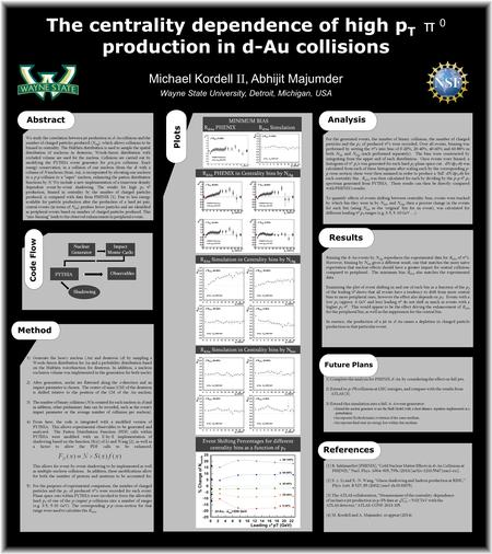 The centrality dependence of high p T π 0 production in d-Au collisions Abstract Michael Kordell II, Abhijit Majumder Wayne State University, Detroit,
