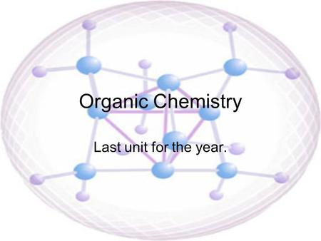 Organic Chemistry Last unit for the year.. What does Organic mean? The word Organic – –in Biology it means any thing that is living or has lived. The.