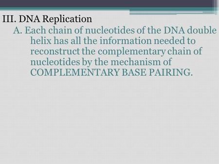 III. DNA Replication A. Each chain of nucleotides of the DNA double helix has all the information needed to reconstruct the complementary chain of nucleotides.