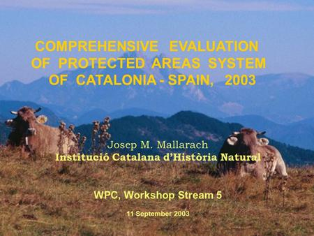 COMPREHENSIVE EVALUATION OF PROTECTED AREAS SYSTEM OF CATALONIA - SPAIN, 2003 Josep M. Mallarach Institució Catalana d'Història Natural WPC, Workshop Stream.