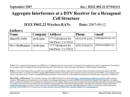 Doc.: IEEE 802.22-07/0411r1 Submission September 2007 Ahmed Sadek, QualcommSlide 1 Aggregate Interference at a DTV Receiver for a Hexagonal Cell Structure.