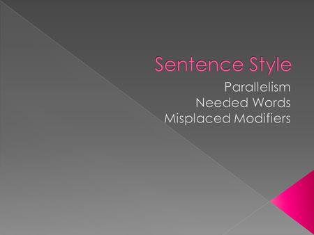 Parallel structure means using the same pattern of words to show that two or more ideas have the same level of importance. This can happen at the word,