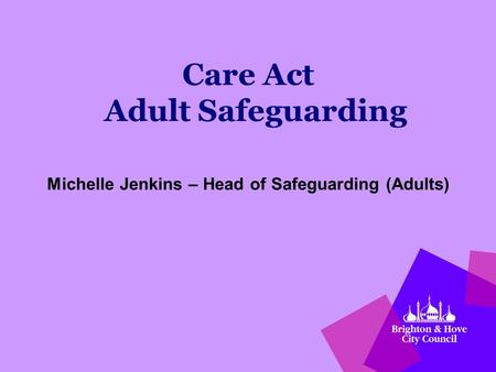 Care Act Adult Safeguarding Michelle Jenkins – Head of Safeguarding (Adults)