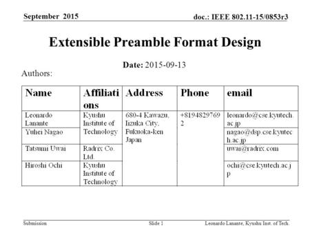 Submission doc.: IEEE 802.11-15/0853r3 September 2015 Leonardo Lanante, Kyushu Inst. of Tech.Slide 1 Extensible Preamble Format Design Date: 2015-09-13.