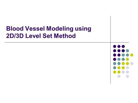 Blood Vessel Modeling using 2D/3D Level Set Method