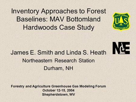 Inventory Approaches to Forest Baselines: MAV Bottomland Hardwoods Case Study James E. Smith and Linda S. Heath Northeastern Research Station Durham, NH.