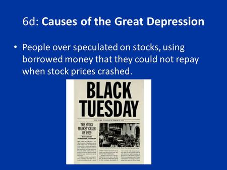 6d: Causes of the Great Depression