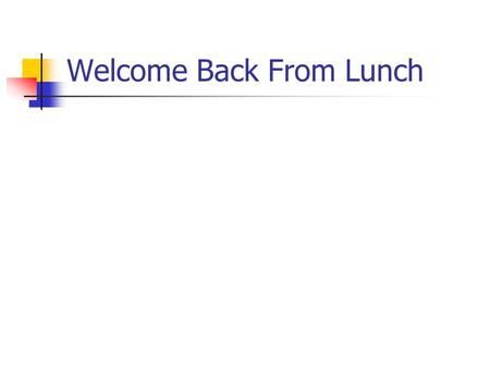 Welcome Back From Lunch. Thursday Afternoon 2:00-3:00 Studies of Diagnostic Test Accuracy (Tom) 3:00-3:45 Combining Tests (Mark) 3:45-4:00 Break 4:00-5:30.