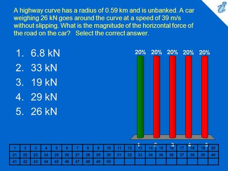 A highway curve has a radius of 0.59 km and is unbanked. A car weighing 26 kN goes around the curve at a speed of 39 m/s without slipping. What is the.