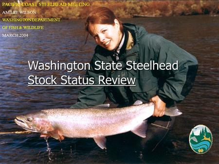Washington State Steelhead Stock Status Review PACIFIC COAST STEELHEAD MEETING AMILEE WILSON WASHINGTON DEPARTMENT OF FISH & WILDLIFE MARCH 2004.