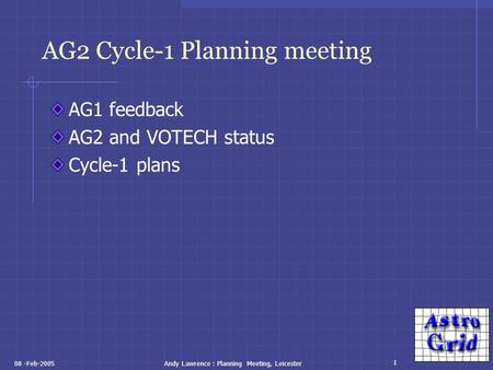 1 08 -Feb-2005Andy Lawrence : Planning Meeting, Leicester AG2 Cycle-1 Planning meeting AG1 feedback AG2 and VOTECH status Cycle-1 plans.