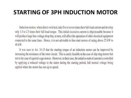 STARTING OF 3PH INDUCTION MOTOR. DOL STARTER STAR DELTA STARTER.