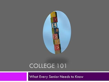 COLLEGE 101 What Every Senior Needs to Know. How do I know if I have enough credits to graduate?  Over the next couple months, your counselor will be.