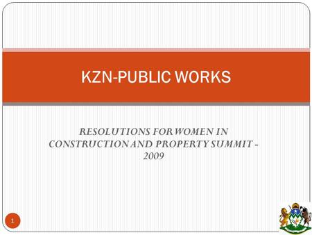 RESOLUTIONS FOR WOMEN IN CONSTRUCTION AND PROPERTY SUMMIT - 2009 KZN-PUBLIC WORKS 1.