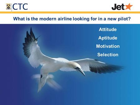 What is the modern airline looking for in a new pilot? Attitude Aptitude Motivation Selection.