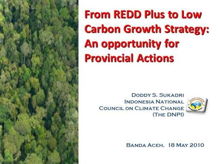 Banda Aceh, 18 May 2010 From REDD Plus to Low Carbon Growth Strategy: An opportunity for Provincial Actions Doddy S. Sukadri Indonesia National Council.