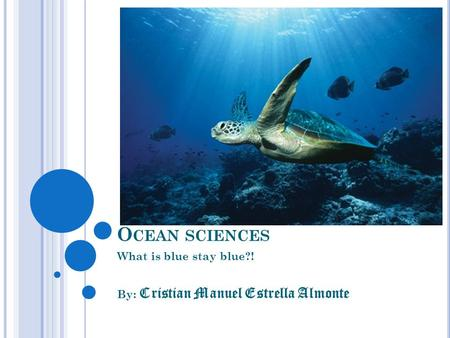 O CEAN SCIENCES What is blue stay blue?! By: Cristian Manuel Estrella Almonte.
