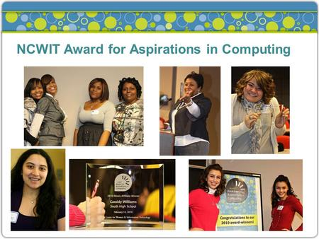NCWIT Award for Aspirations in Computing. Publicity & Getting Girls to Apply »Get the word out to possible applicantsGet the word out to possible applicants.