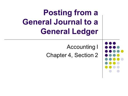 Posting from a General Journal to a General Ledger Accounting I Chapter 4, Section 2.