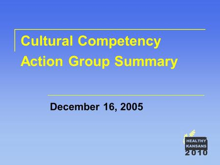 Cultural Competency Action Group Summary December 16, 2005.
