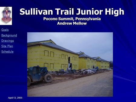 Sullivan Trail Junior High Pocono Summit, Pennsylvania Andrew Mellow Goals Background Drawings Site Plan Schedule April 13, 2005.