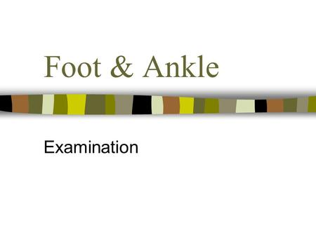Foot & Ankle Examination. Subjective Age Occupation & Sport – sports, shoes, dominant foot Site - localised Spread - little Onset – overuse, trauma, insidious.