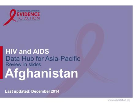Www.aidsdatahub.org HIV and AIDS Data Hub for Asia-Pacific Review in slides Afghanistan Last updated: December 2014.