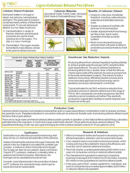 Ligno-Cellulosic Ethanol Fact Sheet  Cellulosic Ethanol Production Most plant matter is not sugar or starch, but cellulose, hemicellulose,