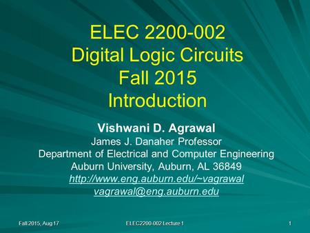 ELEC Digital Logic Circuits Fall 2015 Introduction