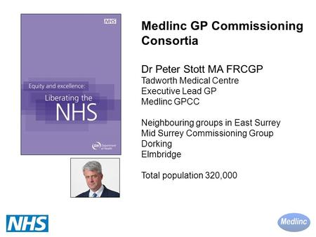 Medlinc GP Commissioning Consortia Dr Peter Stott MA FRCGP Tadworth Medical Centre Executive Lead GP Medlinc GPCC Neighbouring groups in East Surrey Mid.