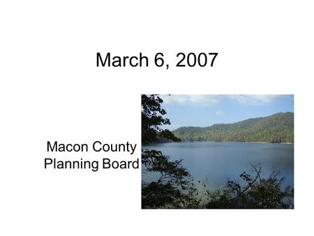 March 6, 2007 Macon County Planning Board. Subdivision Exemptions SUBDIVISION. A subdivision means all divisions of a tract or parcel of land into two.