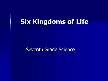 Six Kingdoms of Life Seventh Grade Science. Six Kingdoms Archaebacteria Archaebacteria Eubacteria Eubacteria Protists Protists Fungi Fungi Plants Plants.