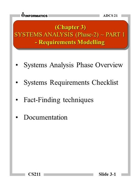 CS211 Slide 3-1 ADCS 21 Systems Analysis Phase Overview Systems Requirements Checklist Fact-Finding techniques Documentation (Chapter 3) SYSTEMS ANALYSIS.