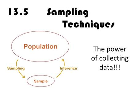 13.5 Sampling Techniques The power of collecting data!!!
