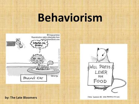 Behaviorism by: The Late Bloomers. A Brief History Developed in the 19 th century by John B Watson – Behavior is a physiological reaction to environmental.