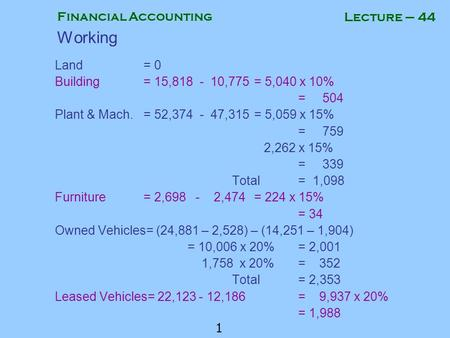 Financial Accounting 1 Lecture – 44 Working Land= 0 Building= 15,818 - 10,775= 5,040 x 10% = 504 Plant & Mach.= 52,374 - 47,315= 5,059 x 15% = 759 2,262.