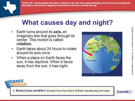 What causes day and night?
