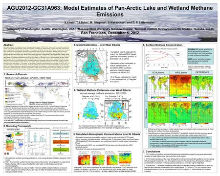 AGU2012-GC31A963: Model Estimates of Pan-Arctic Lake and Wetland Methane Emissions X.Chen 1, T.J.Bohn 1, M. Glagolev 2, S.Maksyutov 3, and D. P. Lettenmaier.