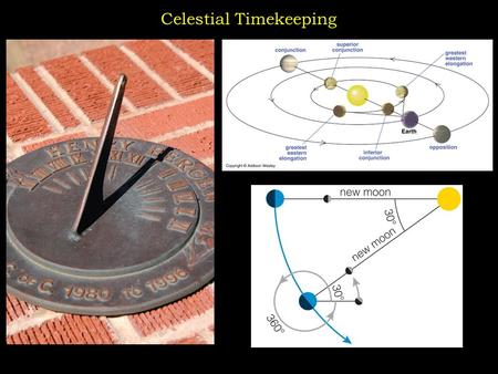 Celestial Timekeeping. Sidereal Day and Solar Day Sidereal Day = The time it takes a STAR to circle the Earth once. Solar Day = The time it takes the.