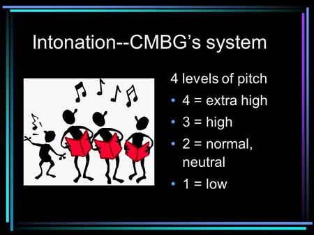 Intonation--CMBG's system 4 levels of pitch 4 = extra high 3 = high 2 = normal, neutral 1 = low.