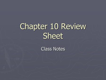 Chapter 10 Review Sheet Class Notes. Key People 1. Eli Whitney: invented the cotton gin and interchangeable parts. 2. Daniel Webster: representative from.