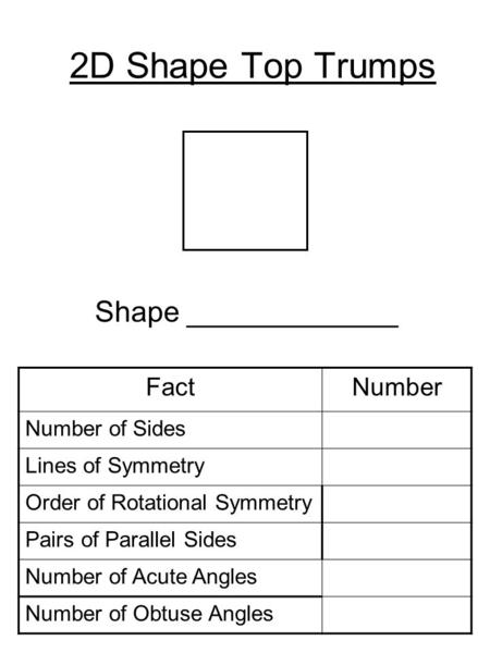 2D Shape Top Trumps Shape _____________ FactNumber Number of Sides Lines of Symmetry Order of Rotational Symmetry Pairs of Parallel Sides Number of Acute.