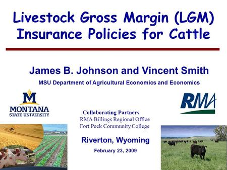1 Livestock Gross Margin (LGM) Insurance Policies for Cattle James B. Johnson and Vincent Smith MSU Department of Agricultural Economics and Economics.