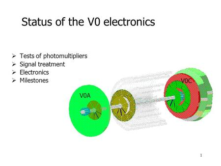 1 Status of the V0 electronics  Tests of photomultipliers  Signal treatment  Electronics  Milestones V0A V0C.