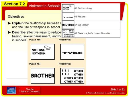 Section 7.2 Violence In Schools Slide 1 of 22 Objectives Explain the relationship between harassment and the use of weapons in school. Describe effective.
