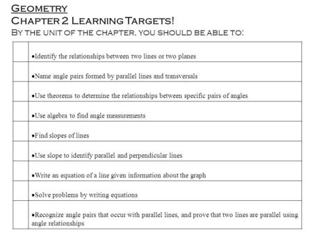 Geometry Chapter 2 Learning Targets! By the unit of the chapter, you should be able to:  Identify the relationships between two lines or two planes 
