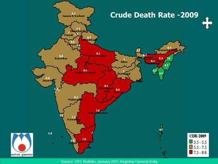 Crude Death Rate -2009 Source: SRS Bulletin, January 2011,Registrar General,India.
